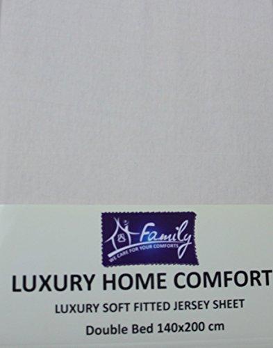 Familiebeddengoed Katoenen Jersey Hoeslaken voor 2 personen, 140 x 200 cm, Crème