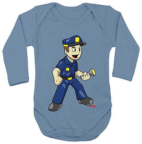 Hariz - Body de manga larga para bebé, policía, incluye tarjeta de regalo, color azul claro