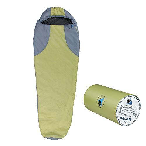 10T Slaapzak Gelar -5° 1000g licht warm zachte mummieslaapzak 210x75 Groen/Grijs 150g / m2 wasbaar