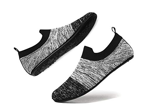 MOHEM Women Men House Slippers Shoes Lightweight Home Household Soft Indoor Bedroom Anti-Slip Sock Shoes with Rubber Sole(MH-Mslipper2237Gray-Black43)