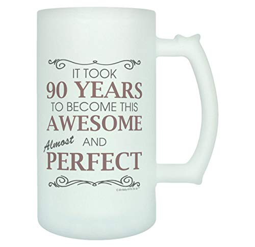 Funny Almost Perfect 90 Year Old Frosted Beer Mug