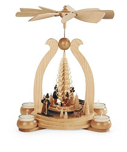 Teelichtpyramide Tischpyramide Wintermotiv 1-stöckig natur mit Teelichter (LxBxH):25x19x34cm NEU Tischdekoration Dekoration Weihnachten Wärmespiel Lichter Figur Edelholz Seiffen Erzgebirge Holz