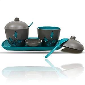 Berossi - Mesita de 4 piezas para servir azúcar y mermelada, recipiente rellenable, con soporte para cultivos de mesa, azúcar, sal, con cuchara, diseño de flores, color turquesa