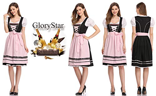 RONSHIN Fashion for Glorystar Dames Duitse Dirndl-jurk 3-delige Oktoberfest-kostuums
