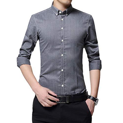 Camisa a Rayas de Moda para Hombre Camisa Transpirable Ajustada de Manga Larga Camisa Informal de Primavera y otoño para Trabajo de Oficina en casa Medium