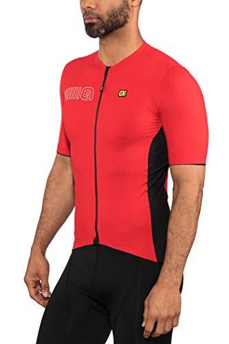 Ale Abbigliamento Ciclismo Uomo Maglia Solid Color Block Jersey (L, Rosso)