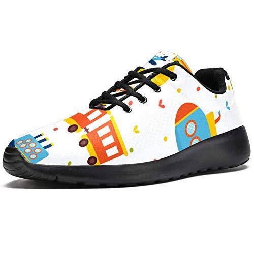 TIZORAX Zapatillas de entrenamiento para mujer tren avión coche y autobús juguetes moda zapatillas de deporte malla transpirable senderismo tenis zapato, color Multicolor, talla 40 EU
