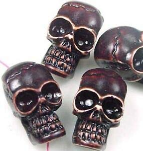 4 Carved Skull Resin Bone Beads 25x14mm Spacer Beads and Roll Crystal String for Bracelets Jewelry Making