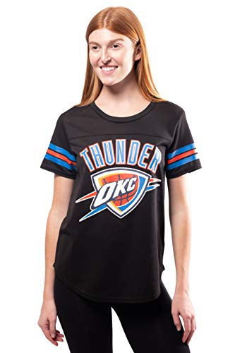 Ultra Game NBA Oklahoma City Thunder Womens Soft Mesh Jersey Tee Shirt, Black, Medium