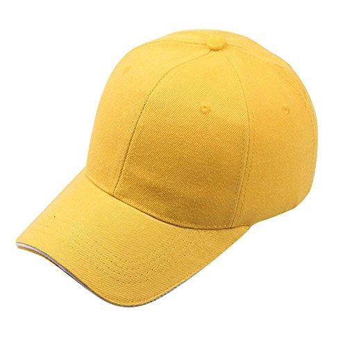 VECOLE Run Cap Vollfarbige Hip-Hop-Baseballkappe für Draussen, Sport und Reisen (Gelb)