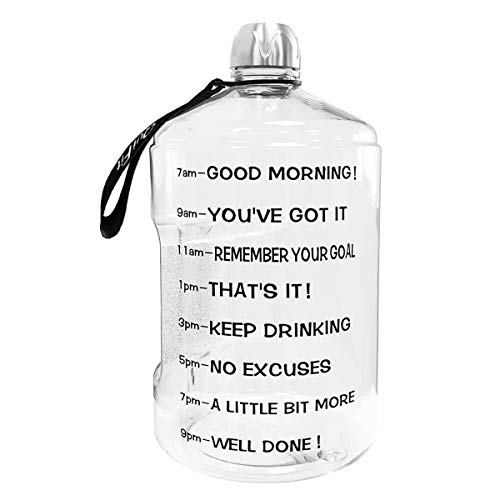 QuiFit 1 Gallon Water Bottle with Time Marker & Handle - BPA Free Reusable Sports Motivational Water Bottle Helps You Drink More Water(Transparent,1 Gallon)