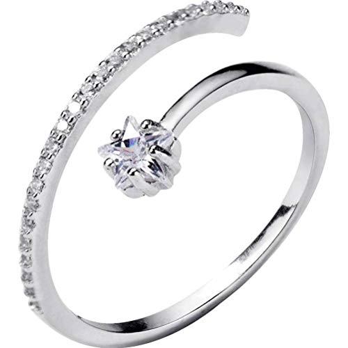 WOZUIMEI S925 Anillo de Estrella de Plata Femenino Coreano Diamante Estrella de Cinco Puntas Anillo Abierto Fila de Moda Anillo de DiamantesAnillo ajustable