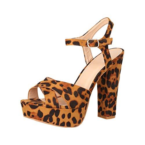 Elara Damen Pumps Bequeme Peep Toe Pumps Trendige Plateau High Heels Chunkyrayan AT0985 Leopard-37