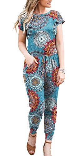 DOUBCQ Womens Summer Casual Short Sleeve Elastic Waist Rompers Jumpsuits with Pockets(Flower Mix Blue,Medium)