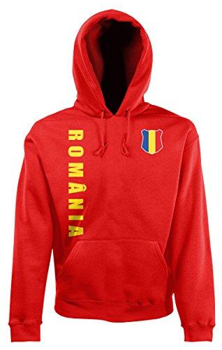 AkyTEX Rumänien Romania EM-2020 Hoodie Wunschname Wunschnummer Rot M
