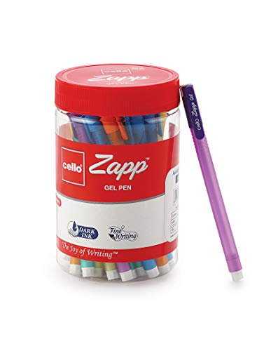 Cello Zapp Gel Pens (25 Pens Jar - Blue) | Dark gel ink for fine writing | Available in 5 bright body colors