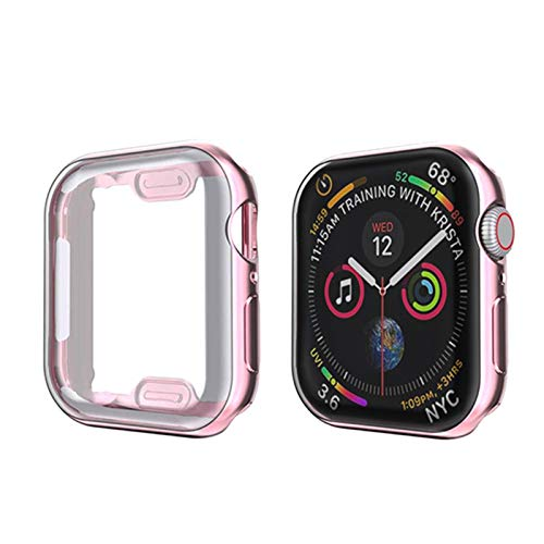 Flyuzi Soft 360 Slim Watch Cover for Apple Watch Case 6 5 4 3 2 1 42mm 38mm Protector de Pantalla TPU Transparente Suave para iWatch 4 3 44mm 40mm (Color : Rosegold, Dial Diameter : 42MM)