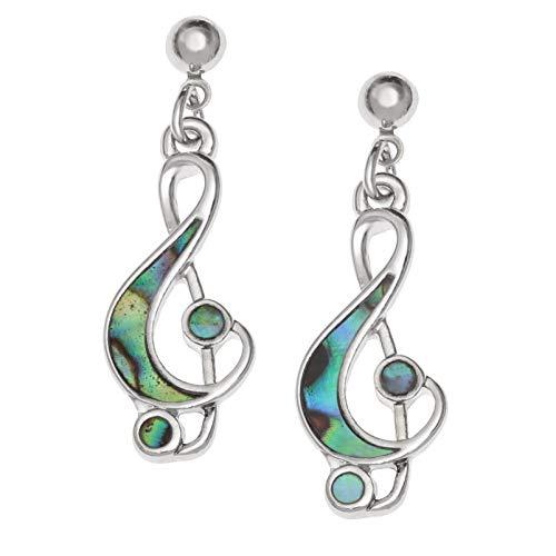 Kiara Jewellery Pendientes hipoalergénicos de notas musicales y clave de agudos con incrustaciones de concha de abulón de Paua de color verde azulado.