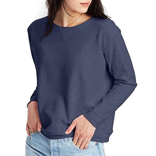 Hanes Women's EcoSmart Crewneck Sweatshirt, Navy Heather, Medium