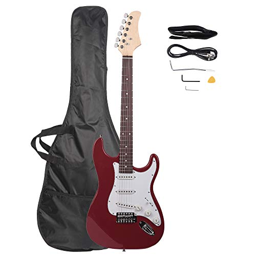 Z ZTDM Full Size 39' Rosewood Fingerboard Electric Guitar with Gigbag Strap Amp Wire Tremolo Arm Cord for Adult Student Beginner Rosy