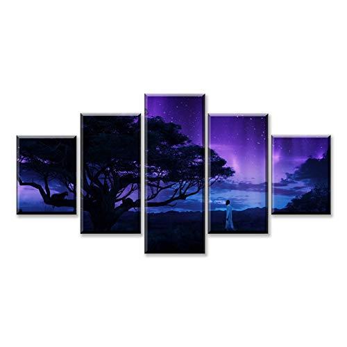 RKSZD 5 canvas schilderijen 5 Stuk Zwart Panter Landschap Canvas Wanddecoratie Voor Woonkamer Canvas Schilderij