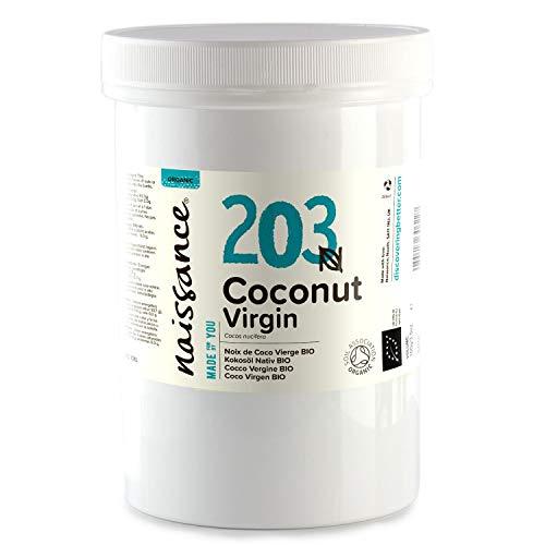 Naissance Huile de Noix de Coco Vierge BIO (n° 203) - 500g - 100% pure, naturelle, pressée à froid, arôme gourmand – végan et sans OGM