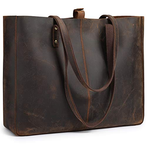 S-ZONE Vintage Genuine Leather Shoulder Tote Bag for Women Large Work Handbag Purse with Removable Pouch (Vintage Deep Brown)