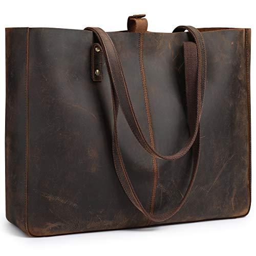 S-ZONE Damen Handtasche Vintage Crazy Horse Leder Große Shopper Tote Bag Schultertasche Arbeitstasche Datingstasche