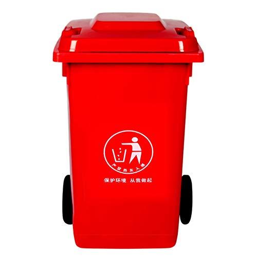 WZP-K Bote de basura: bote de basura al aire libre, gran saneamiento al aire libre y bote de basura comercial con ruedas y tapa/rojo / 30L