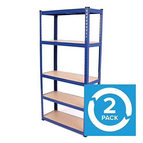 2 pack 76cm wide 5 tier heavy duty steel warehouse racking for Free standing garage