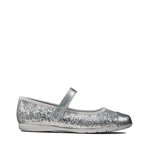 Clarks Mädchen Dance Tap K Geschlossene Ballerinas, Silber (Silver Silver), 28 EU
