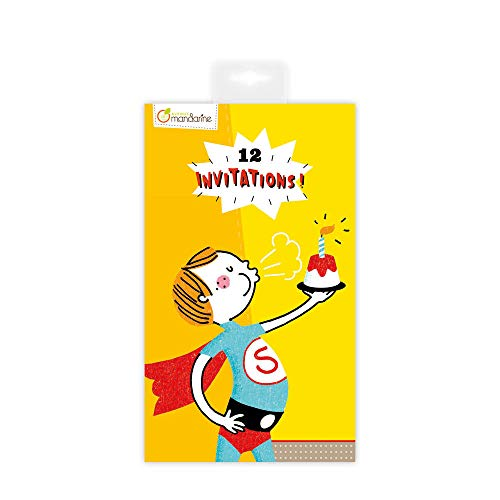 Avenue Mandarine CO142O Einladungskarten, 12 Karten, 17 x 10 cm, 1 Pack, Superhelden