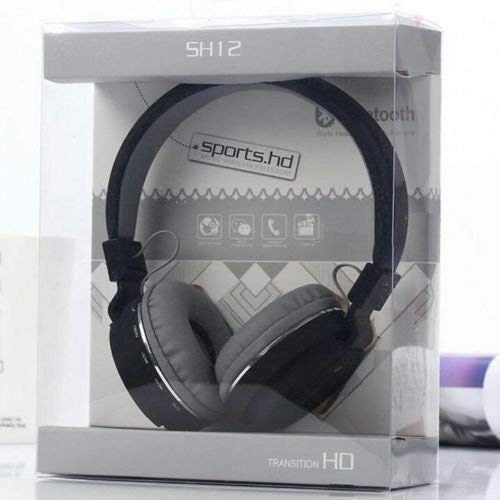 GadgetsSTS SH-12 Wireless Bluetooth Headphone with FM/SD Card Slot with Music and Calling Control (Black)