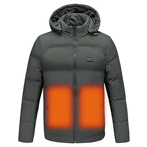 DNJKH Beheizbare Jacke für Herren mit Kapuze Winddichtes Elektrisch Beheizt Jackes Winter Thick Thermo-Bekleidung