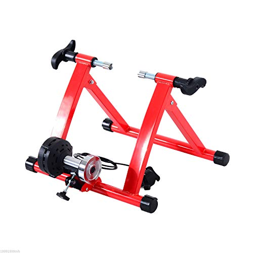 Soozier Magnetic Indoor Bike Trainer Exercise Fitness Bicycle Stand 5 Level Resistance- Red