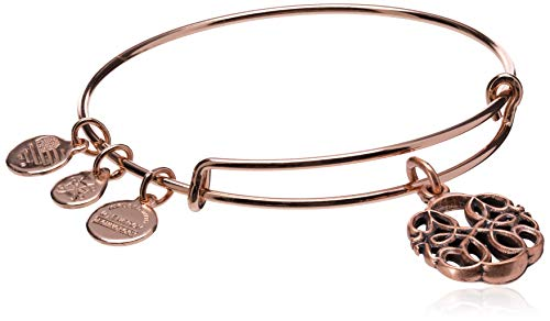 Alex and Ani Women's Path of Life Rose Gold Charm Bangle Bracelet, Expandable