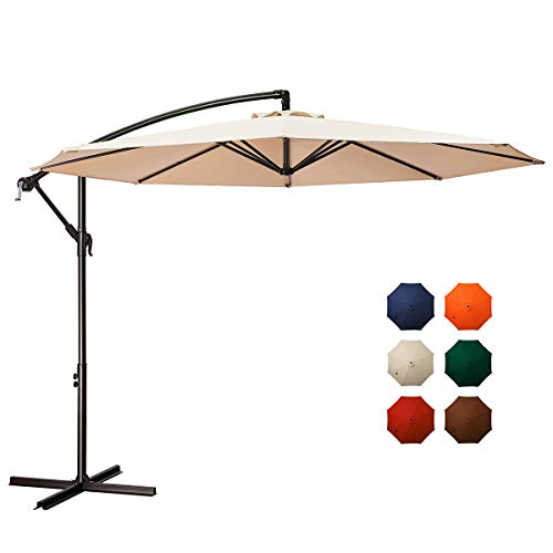 MEWAY 10ft Outdoor Umbrella Backyard Umbrella Deck Umbrella Cantilever Patio Umbrella with Crank & Cross Base, Easy to Instal (10ft, Beige)