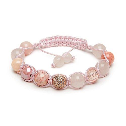 Cuarzo rosa fertilidad Shamballa pulsera oro rosa Pave cristal–fabricado en Gran Bretaña