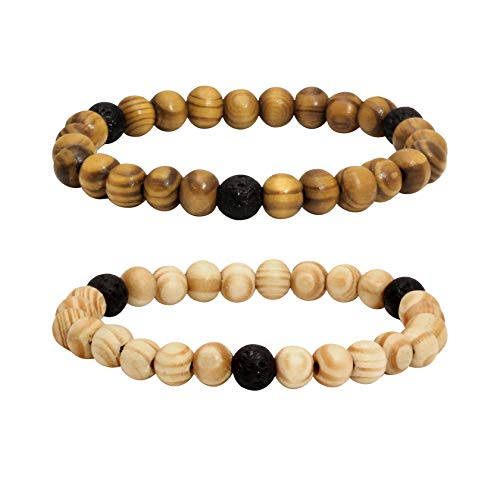 Milakoo 2Pcs Lava Rock Stone Beads Essential Oil Diffuser Bracelet for Men Women Wood Beads Bracelet