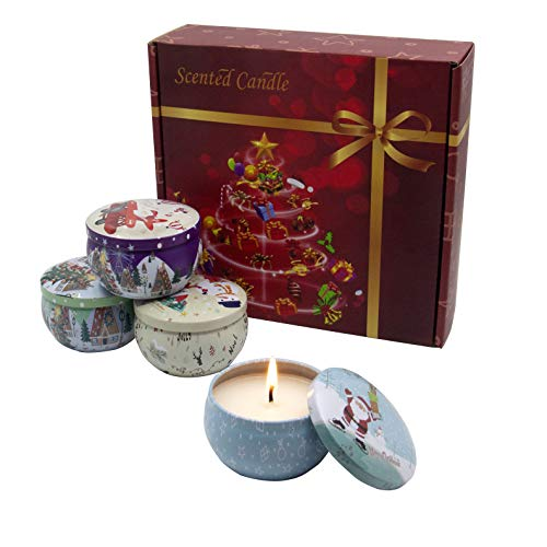 YAVO-EU Duftkerzen Set,4 Stück Duftkerzen Geschenkset Natürliches Sojawachs Tragbare Reisekerzen,für Hochzeiten, Party und Weihnachten