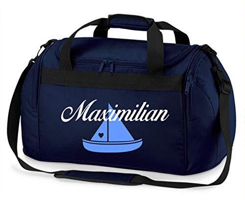Sporttasche mit Namen | inkl. NAMENSDRUCK | Motiv Segel-Boot Schiff | Personalisieren & Bedrucken | Reisetasche Jungen Wasser-Sport Segeln & Meer | blau schwarz