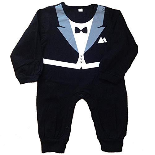 Baby Strampler Smoking für Jungen - Anzug mit Fliege (Größe 90, 12-18 Monate, schwarz)