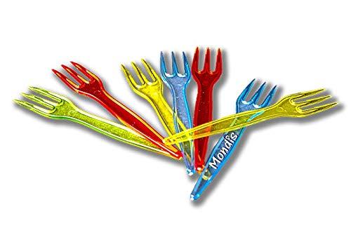 MONDIS Tenedor Mini PS Colores 85mm; 1000 uds PINCHITO Tenedor MINITENEDOR Pinchos DESECHABLE