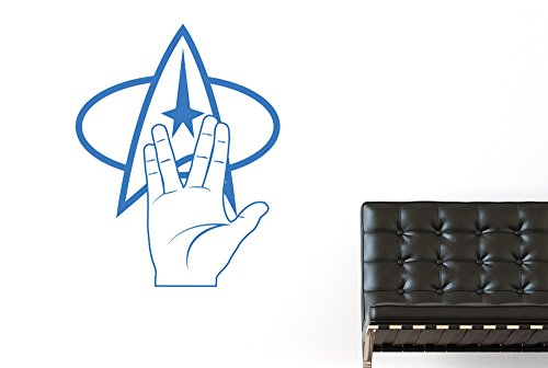 CUT IT OUT Star Trek-Logo und Hand, 72 x 57 cm, Blau