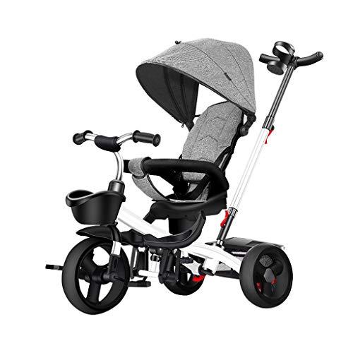 WENJIE En Triciclo 2 niños con 1 bebé de Tres Ruedas Empuje la manija/de Embrague de Rueda/Asiento reclinable Giratorio (Color : Gray)