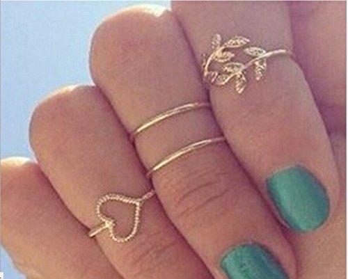 Sannysis Moda placcato oro del cuore del foglio misto Knuckle Nail Ring Set di Quattro Anelli