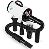 amzdeal Dog Dryer 2800W Strong Power Pet Hair Dryer for Home and Professional Use Dog Grooming Dryer Blaster, with Spring Hose, and 4 Nozzle, White