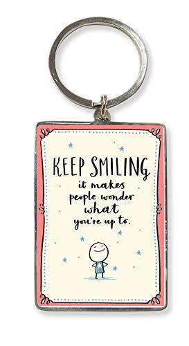 Keep Smiling Metallic Keyring Lovely Birthday Christmas Gift Idea KR219