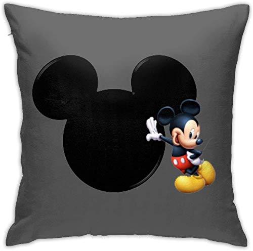 By Funda de cojín cuadrada de Mickey Mouse, funda de cojín de terciopelo suave con cremallera oculta para sofá, sala de estar, decoración del hogar (45,7 x 45,7 cm)