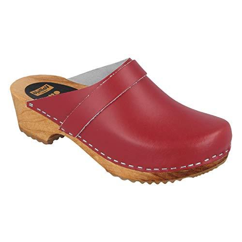 pequeño y compacto Zapatos de madera para mujer de cuero genuino Vollsjo, charol-rojo, 36